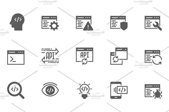 Software and Programming Icons. Project #algorithm