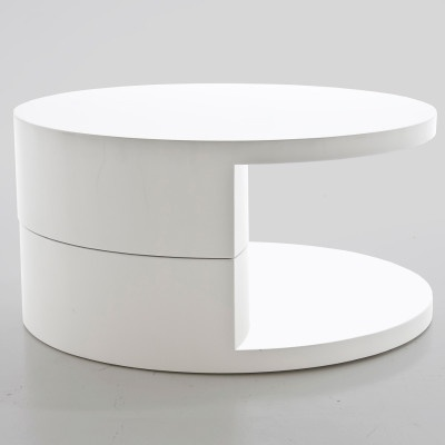 The Actona Push Round Coffee Table is a contemporary coffee table White