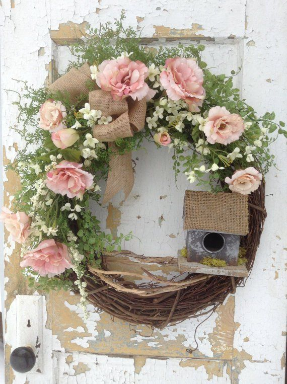 Spring Birdhouse Wreath