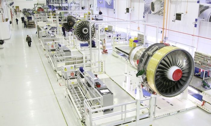 production line for Rolls-Royce's Trent 900 engines