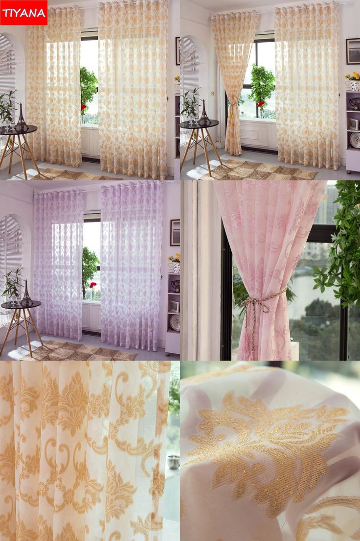 [Visit to Buy] Luxury European Jacquard Pink Tulle Cortinas For Bedroom White Yellow Modern Transparent Yarn Curtains For Living Room AG014&20 #Advertisement