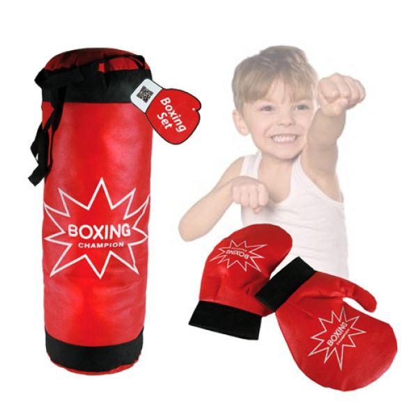 Apresentamos-lhe este conjunto de kickboxing infantil! Este conjunto de boxe infantil com luvas é excelente para elas treinarem. Trata-se, sem dúvida, de uma maneira divertida de brincar e treinar ao mesmo tempo! Estão incluídos um saco de areia(aprox. 4