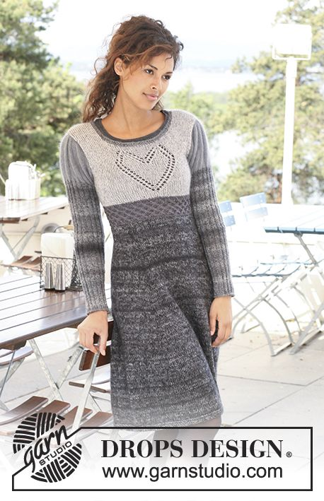 """Knitted DROPS dress in """"Delight"""", """"Kid-Silk"""" and """"Cotton Viscose"""" with a heart on the yoke. Size XS to XXXL   Free pattern by DROPS Design."""