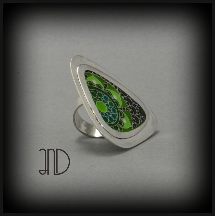 Silver ring with green cloisonne enamel pattern. www.facebook.com/ANDcli