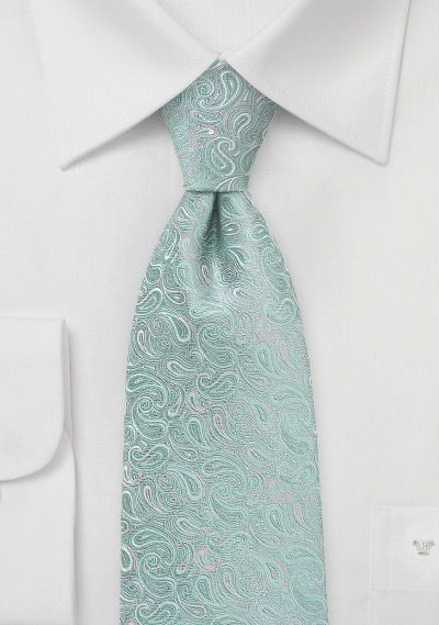mint paisley ties | Silver and Mint Paisley Tie - ties shop - yellow/green