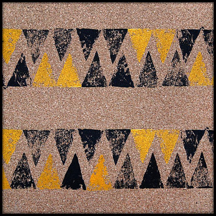 ΔΔΔ __________  triangles, print, triangle, graphic, stamp, pattern, geometric, yellow, black, ink,