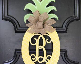 Pineapple Monogram Door Hanger Summer Pineapple Decor Monogram