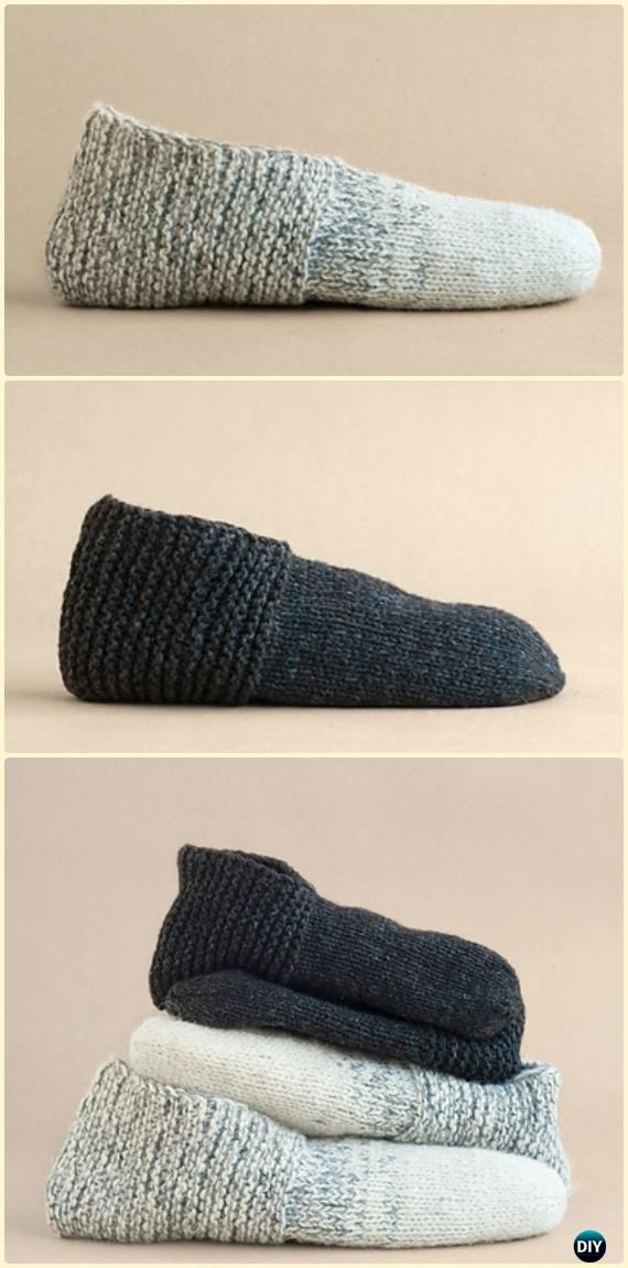Knit Simple House Slippers Free Pattern - Knit Adult Slippers Free Patterns