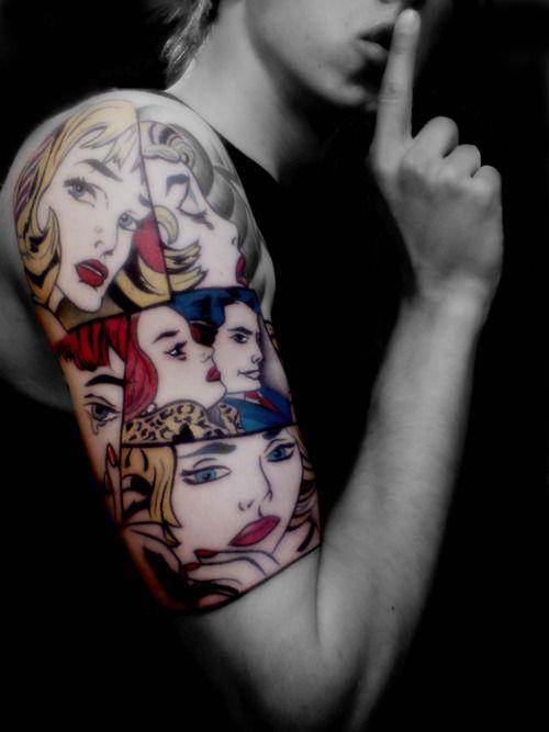 i love pop art tattoo ideas pop art tattoo thighs tattoo cartoon tattoo half sleeve tattoo. Black Bedroom Furniture Sets. Home Design Ideas
