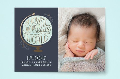 How Wonderful Birth Announcements by Laura Hankins at minted.com