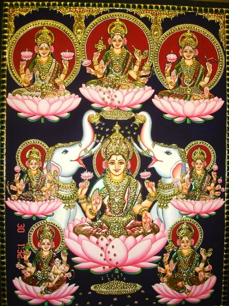 Lakshmi is considered a Mother Goddess when it comes to providing wealth in its 16 forms: Knowledge, intelligence, strength, valor, beauty, victory, fame, ambition, morality, gold and other wealth, food grains, bliss, happiness, health and longevity, and virtuous off-springs.