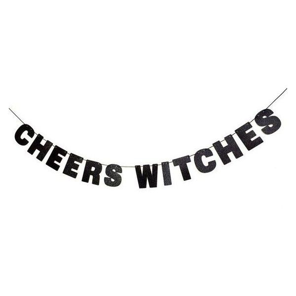 CHEERS WITCHES Glitter Banner Wall Decor Sign Sparkly Black Spooky Par ❤ liked on Polyvore featuring home, home decor, fillers, text, words, black home accessories, quote sign, black home decor, spooky sign and text signs