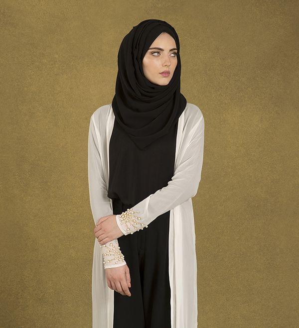 White Scattered Pearl Kimono - £85.00 : Inayah, Islamic Clothing & Fashion, Abayas, Jilbabs, Hijabs, Jalabiyas & Hijab Pins