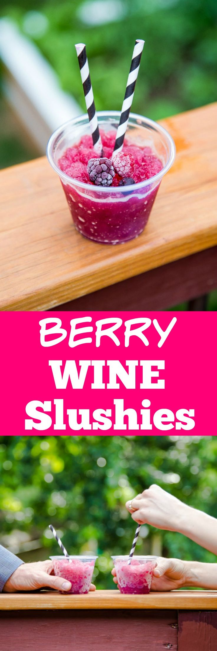 Two ingredient mixed berry wine slushies! So easy! Do them ahead, and ...