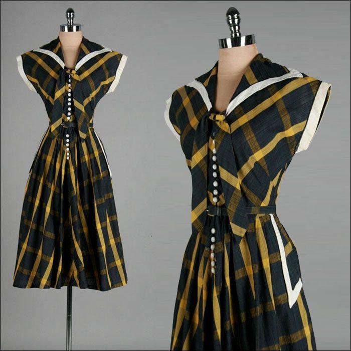 ヴィンテージ1940年代のドレス。ブルー。グリーン。セーラーカラー。トニトッド。デイドレス。 15828    40代向け女性ファッション