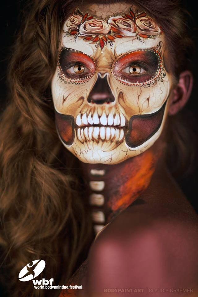 Entrant for the World Bodypainting Festival 2015 Facepainting World Award Klaudia Kraemer's stunning skull.  The Facepainting Category is powered this year by Snazaroo! Welcome back to the team!