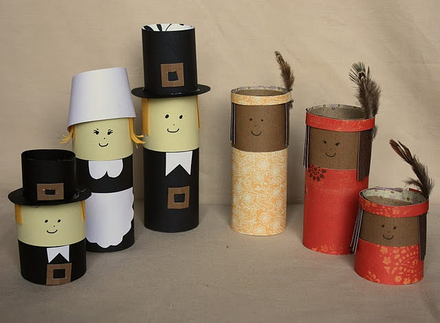 Pilgrims and indians craft perfect use for all the toilet for Toilet paper roll crafts thanksgiving