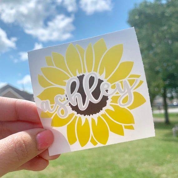 Sunflower Monogram Car Decal Sticker