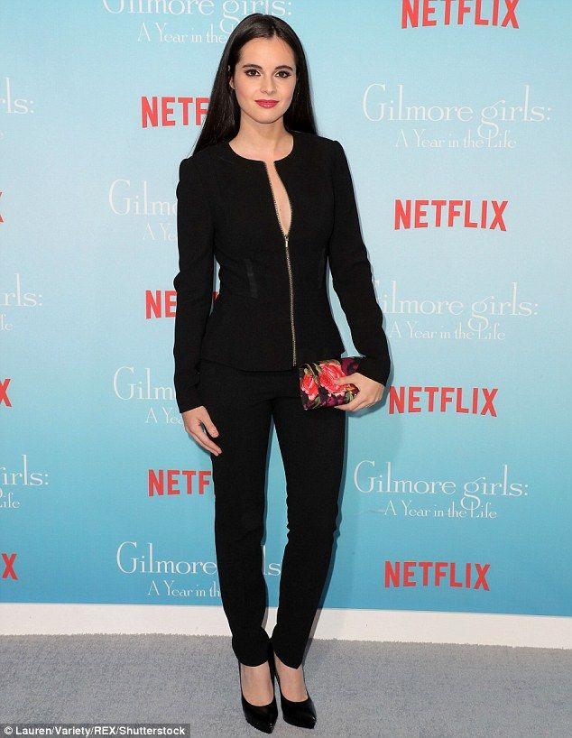 Showstopper! Actress Vanessa Marano, 24, flashed a hint of cleavage in a plunging black bl...