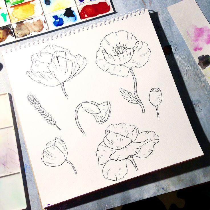 #доброеутро всем!  #круто , что эта #неделя короткая 💃🏼🎨 #пятидневка даётся тяжелей, чем #график 2/2 и рисовать удаётся реже обычного.  А вообще, последнее время меня потянуло на ботанику, все таки #природа вдохновляет, а вас?  #badartist_larakaluga . . .  #графика #маки #ink #acrylic #artwork #акварельнаяиллюстрация #скетч  #artguide_illustration #sketch #illustration #art_daily #workofart #showyourwork #flower #мак