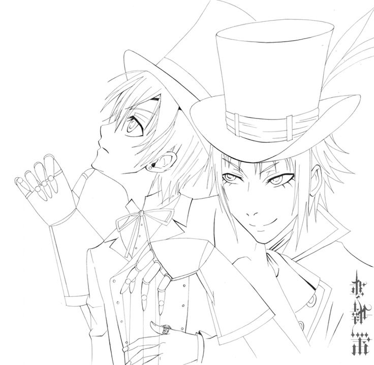 black butler black butlercoloring pagescrayon - Black Butler Chibi Coloring Pages