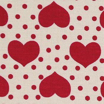 Bomuld+sand+m+røde+prikker/hjerter