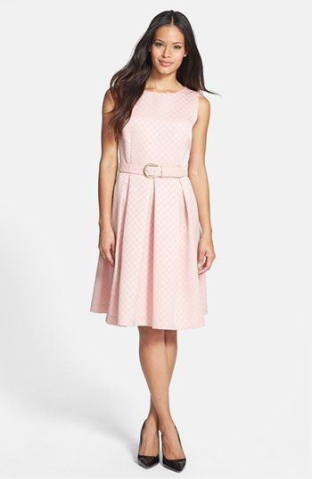 Tahari Belted Jacquard Fit & Flare Dress available at #Nordstrom