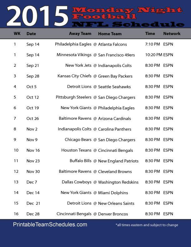 NFL Monday Night Football Schedule
