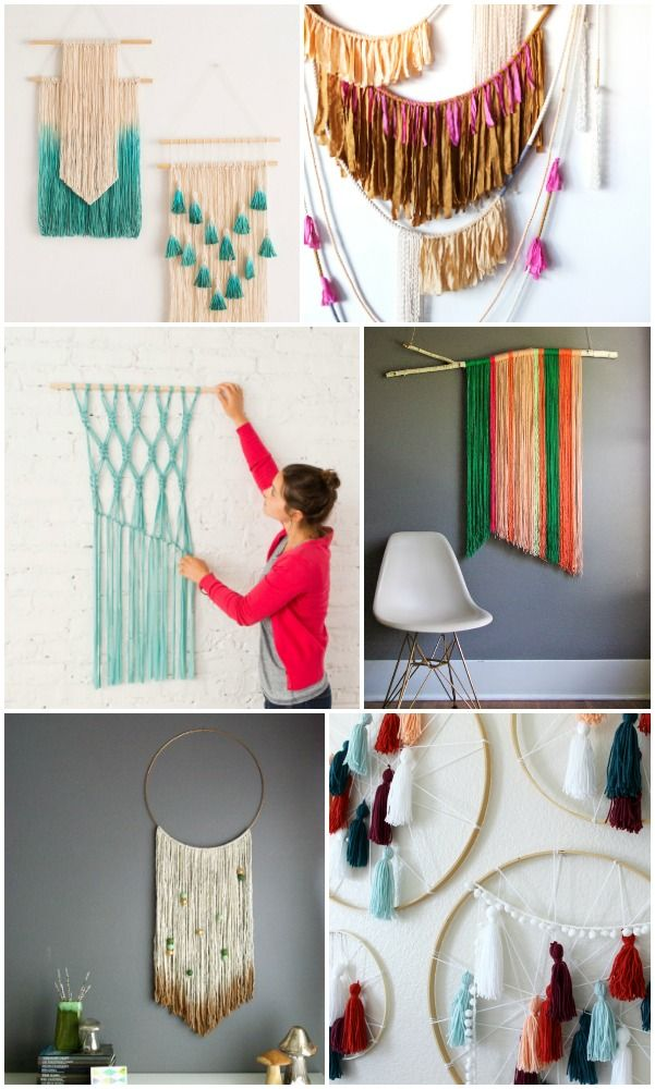 20 easy diy yarn art wall hanging ideas diy home yarn - Wall decoration ideas for bedrooms ...