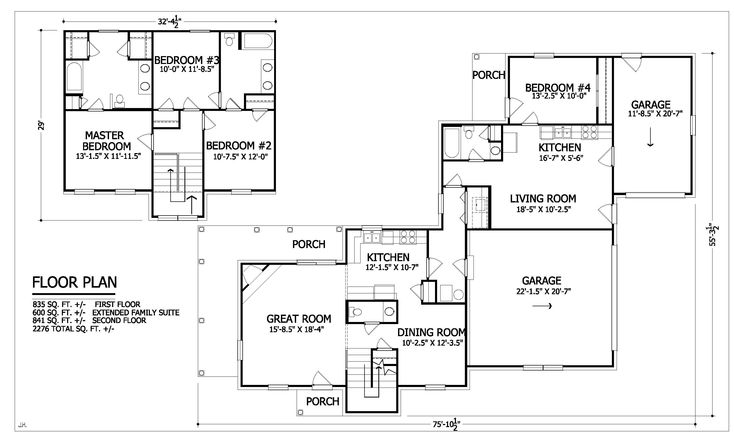 237 best floor plans images on pinterest baths floor for Extended family house plans