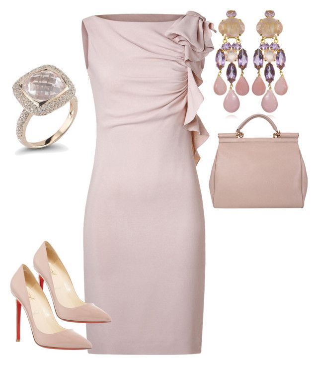 """""""nude pink"""" by mickim ❤ liked on Polyvore featuring Valentino, Christian Louboutin, Bounkit, Dana Rebecca Designs, Dolce&Gabbana, women's clothing, women, female, woman and misses"""