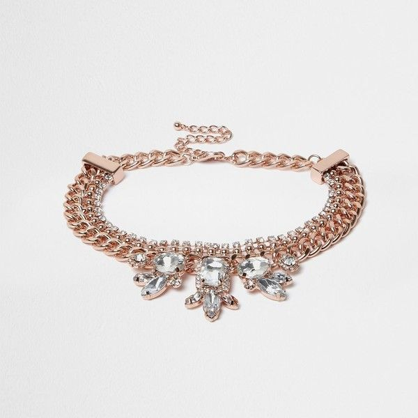 River Island Rose gold diamante chain choker ($21) ❤ liked on Polyvore featuring jewelry, necklaces, gold, women, choker necklace, rose gold tone jewelry, rose gold necklace, chains jewelry and chain necklace