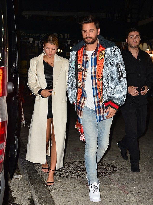 3106d9ab9ec Scott Disick Rocks Gucci Jacket And Nike Sneakers With Sofia Richie Wearing  An RTA Brand Dress
