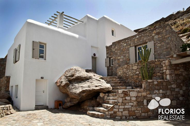 The architecture of the villa is in full harmony with the Mykonian style, while the designed furniture, fabrics and artifacts create a chic aura all around. FMV1021 Villa for Sale on Mykonos island Greece. http://www.florios.gr/en/mykonos-property/18.html