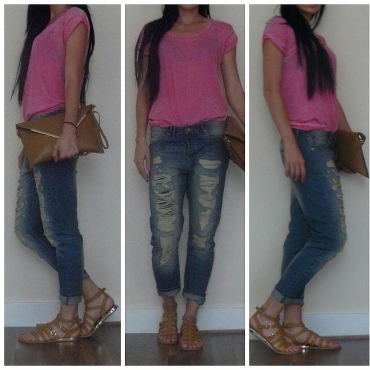 BF Jeans, Boyfriend Jeans, Pink T-Shirt