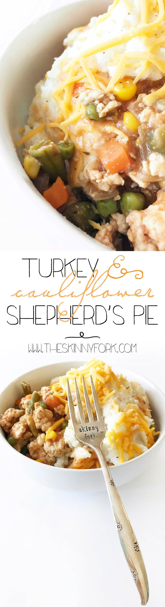 #Ad Check out this smart swap Turkey & Cauliflower Shepherd's Pie! It's Inspired By You with a cauliflower mash, plenty of veggies and lean ground turkey making the perfect SmartMade style meal option. It's easy to make, tasty, clean, lean and guilt-free! Repin for a chance to see a similar @smartmade0201 meal in your freezer aisle @AOL_Lifestyle TheSkinnyFork.com | Skinny & Healthy Recipes