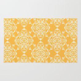 Yellow Retro Damask Rug