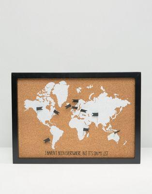 New Look - Tableau en liège pailleté avec carte du monde