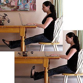 Get a workout at work! Simple exercises at your desk can strengthen abs, thighs, and buns.