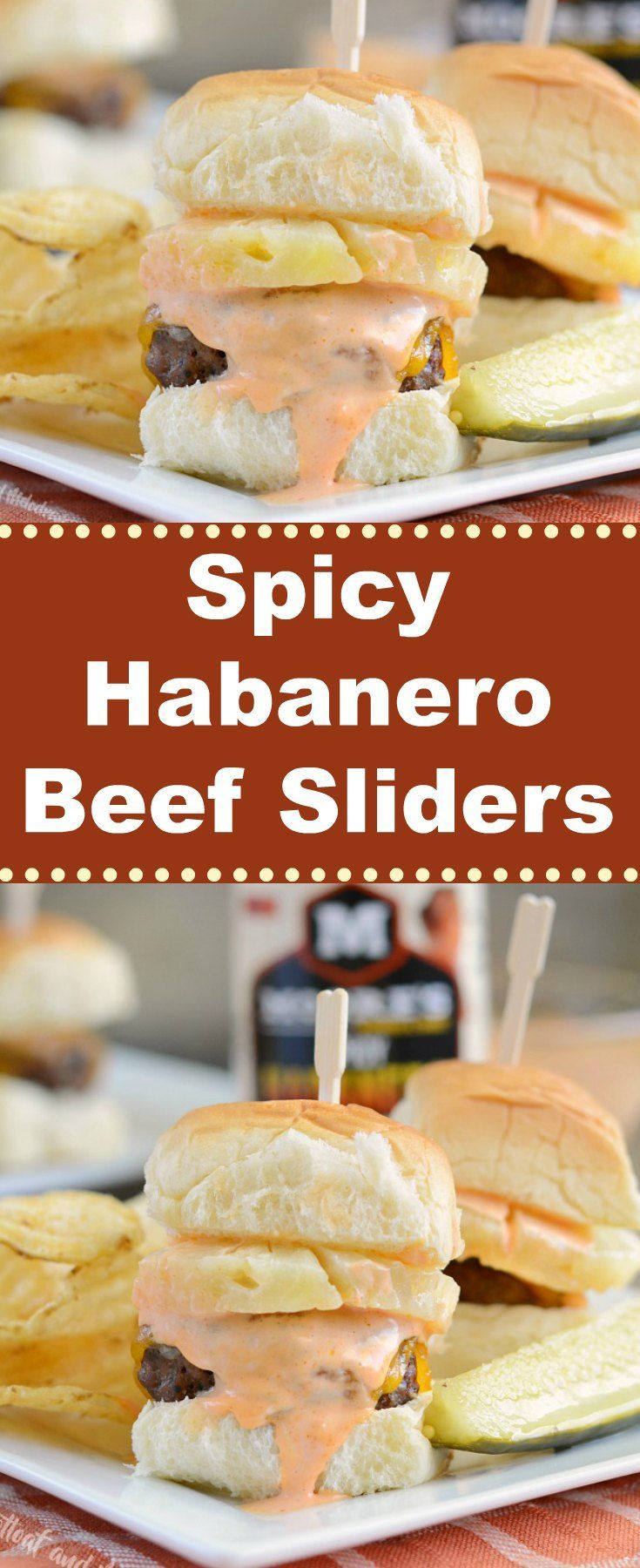 Spicy Habanero Beef Sliders -  Quick and easy ground beef sliders topped with pineapple, cheddar cheese and a creamy spicy sauce made with Spicy Habanero Sauce from Moore's Marinades. from Meatloaf and Melodrama AD #marchmadness #easydinner #appetizer #mooreflavor