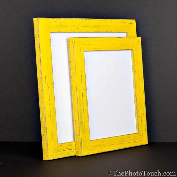 yellow picture frame rustic reclaimed distressed barn wood style all wood choose your - Yellow Picture Frames