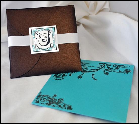 pochette wedding invitations - brown, tiffany blue and white