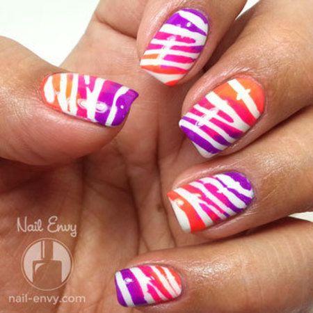 Tri-Color Neon Tiger Stripe Nails