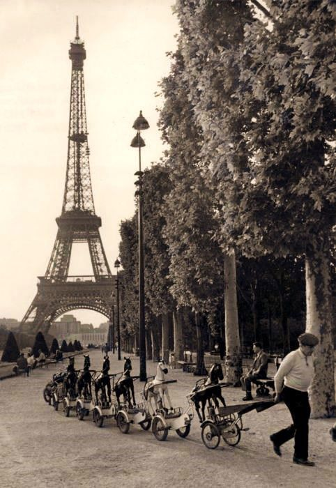 Eiffel Tower and pony-cycles ready to ride
