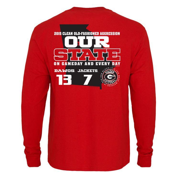 Georgia Bulldogs vs. Georgia Tech Yellow Jackets 2015 Our State Rivalry Score Long Sleeve T-Shirt - Red