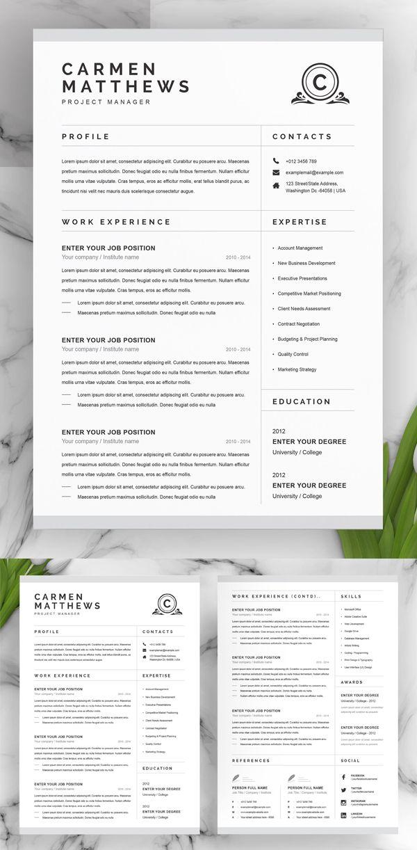 50 Best Cv Resume Templates In 2020 Clean Resume Template One Page Resume Template Cv Resume Template