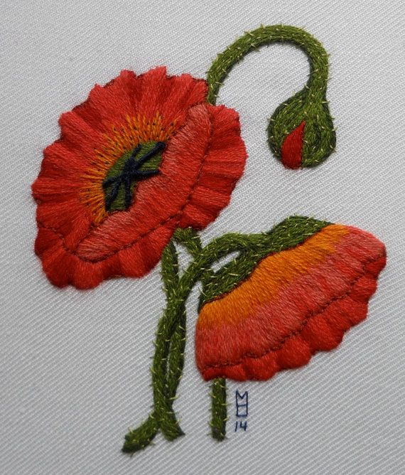 Crewel Poppies hand embroidered 12 inch by MaggieAliceMary on Etsy