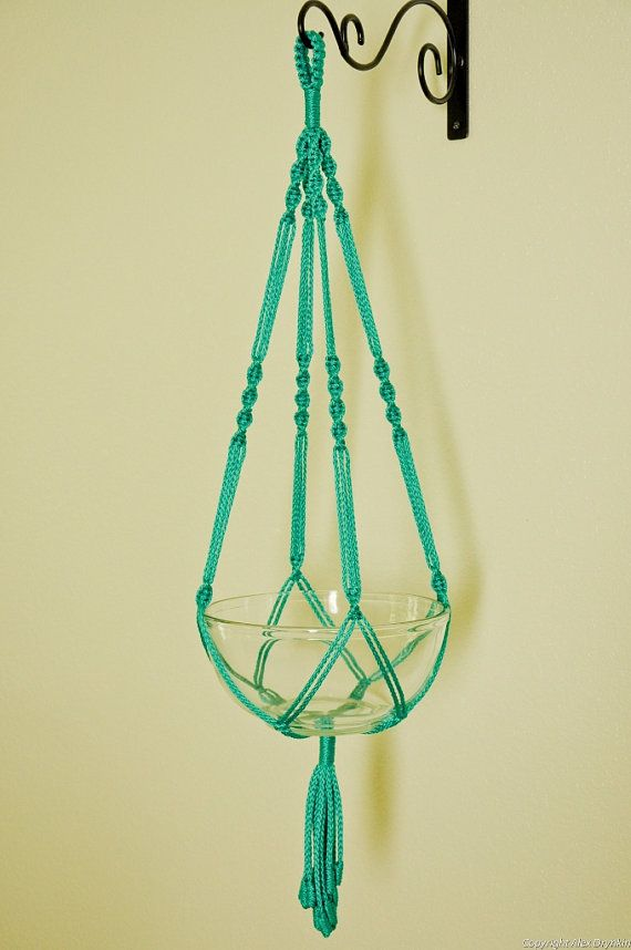 Hand Crafted Macrame Plant Hanger Turquoise by macramemarket, $11.99 #macrame #plant hanger gerat inspiration for my shop MacrameLoveJewelry.etsy.com