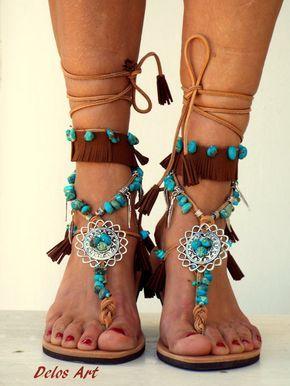 Native Amerika lederen sandalen hippie schoenen door DelosArt