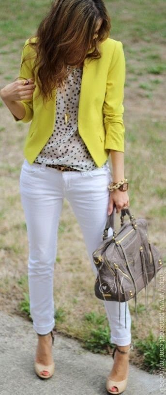 Try white denim on casual Friday - add a pop of color with a bright fitted blazer.